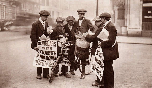63. Newspaper boys with latest news, London, 1908